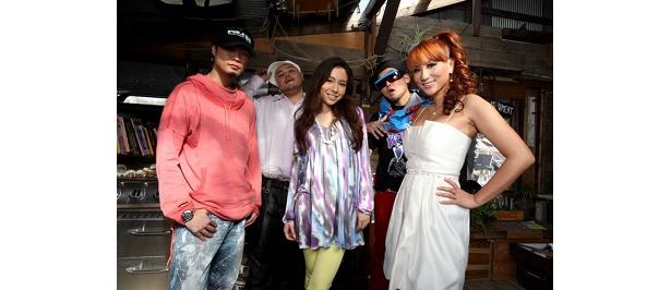 左からDiggy-MO'、クレンチ&ブリスタのMr.ブリスタ、May J.、クレンチ&ブリスタのクレンチ、DJ KAORI