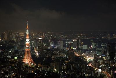 六本木ヒルズの東京シティビュー「スカイデッキ」からの夜景