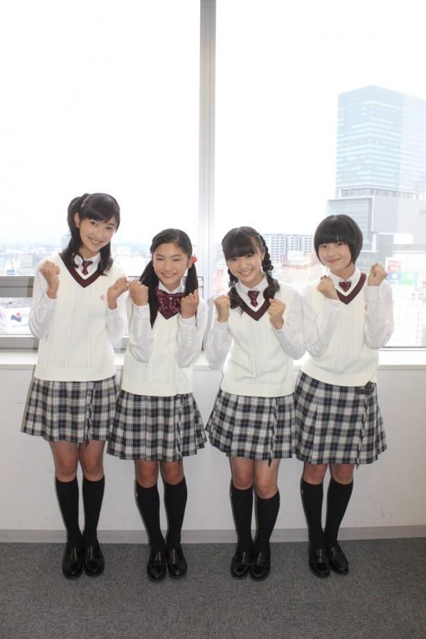 5月に新体制になったさくら学院から今回インタビューに答えてくれた(左から)野津友那乃、岡田愛、菊地最愛、倉島颯良