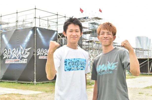「SASUKE PARK in 豊洲」のプレイベントに登場した(左から)漆原裕治氏(35)、又地諒氏(25)