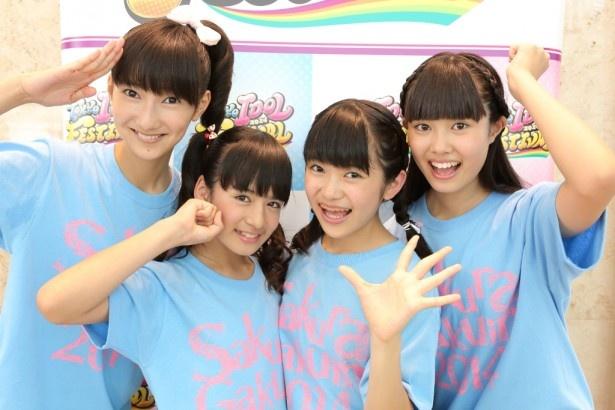 「東京アイドルフェスティバル2014」に出演したさくら学院を代表してインタビューに答えてくれた(左から)野津友那乃、山出愛子、大賀咲希、田口華