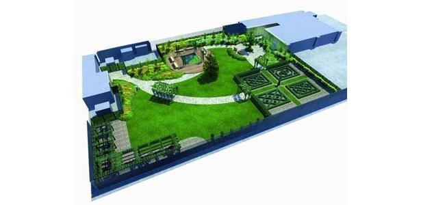 これが全体図。都内最大級の屋上庭園だ