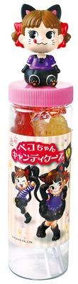黒ネコの首振りペコちゃんフィギュアキャップが付いた「ペコちゃんキャンディケース」(734円)