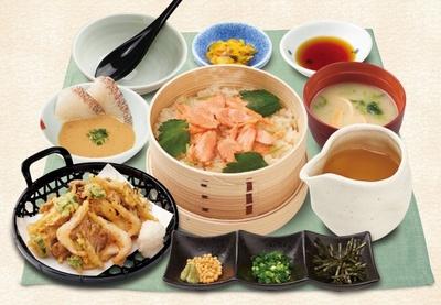 サケ茶、天茶、タイ茶など好きな食べ方が選べる「海鮮だし茶漬け三昧膳」(税別1099円)