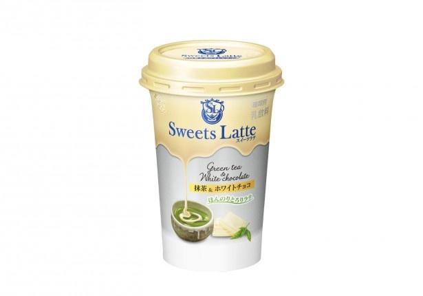 「Sweets Latte 抹茶&ホワイトチョコ」(税別140円)は濃厚な宇治抹茶の味わいにふんわり甘いホワイトチョコレートでアクセントを効かせている