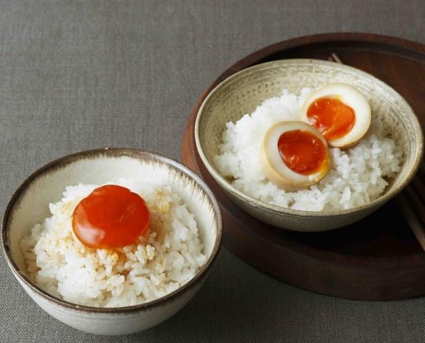 右)半熟みそ卵 左)卵黄のしょう漬け