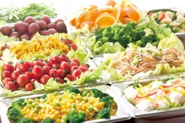 今回提供される2品にはサラダ、カレー、スープ、デザート、パン等30種類以上が食べ放題のサラダバイキングが付いている