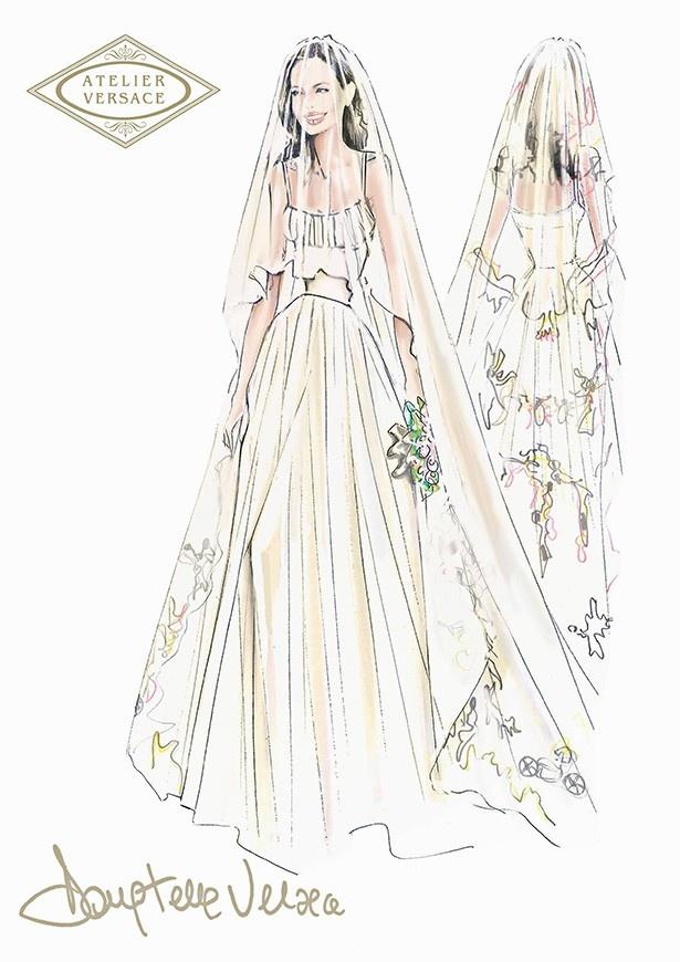 【写真を見る】アンジェリーナが着たヴェルサーチのウェディングドレス