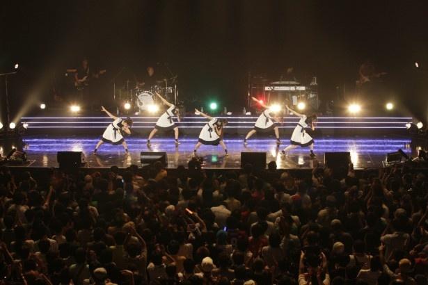 バックバンドはギター、ベース、ドラム、キーボード(+スクラッチ)の4人体制