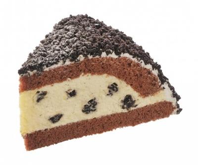 ココアクランチの食感がアクセントの「クッキー&クリームのケーキ」(399円)