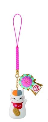 お店の開店を祝した花輪と招きネコになったニャンコ先生の「I賞 和小物根付(全4種)」