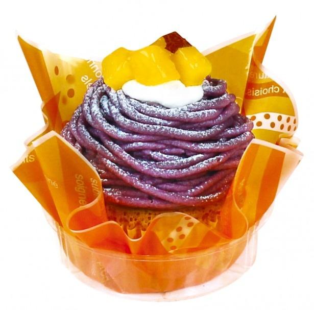 黒糖クリームと紫イモのクリームが香る「紫いものモンブラン」(291円)は先行発売中