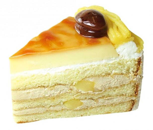 人気のプリンショートをマロンの味わい豊かなケーキに仕上げた「マロンのプリンショート」(367円)