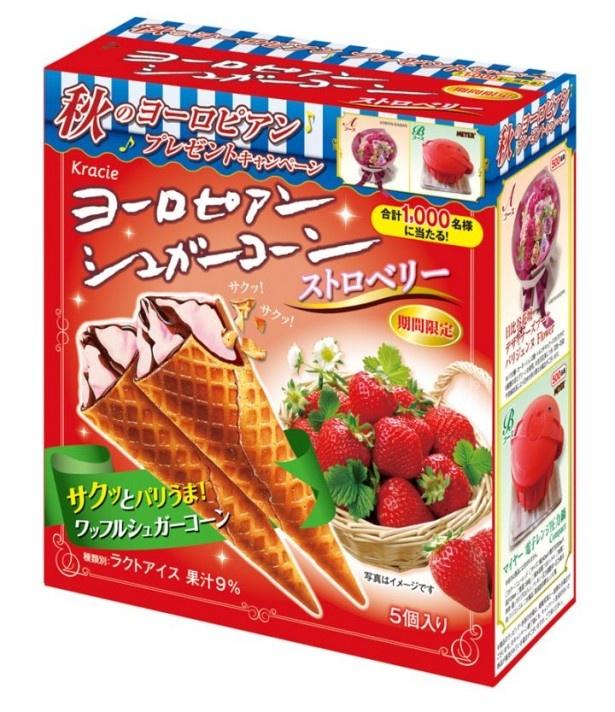 【写真を見る】イチゴ果汁の量が増えたイチゴアイスにチョコレートを組み合せた「ヨーロピアンシュガーコーン(ストロベリー)」