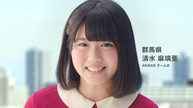 群馬出身のチーム8・清水麻璃亜「おはよー!うんと応援してるん!」(「関東・甲信越」バージョン)