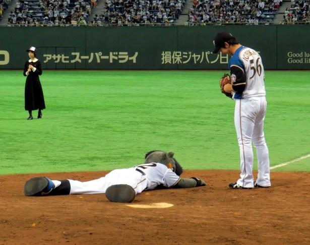 中条あやみの呪いの魔球で、日本ハムファイターズのマスコットのB・Bも倒れ…