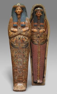 アメン・ラー神の歌い手ヘネトタウィの人型内棺とミイラ板