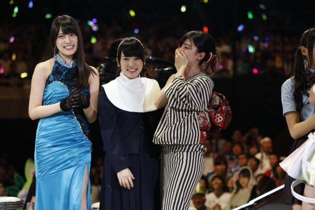 38thシングルで選抜メンバー入りを果たした入山杏奈、川栄李奈、武藤十夢(写真左から)