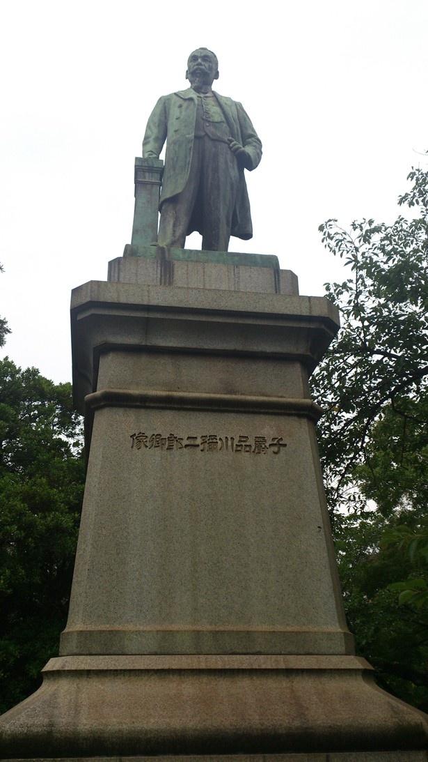 品川弥二郎像など、幕末維新期の山口県にゆかりのある地でクイズが出題される