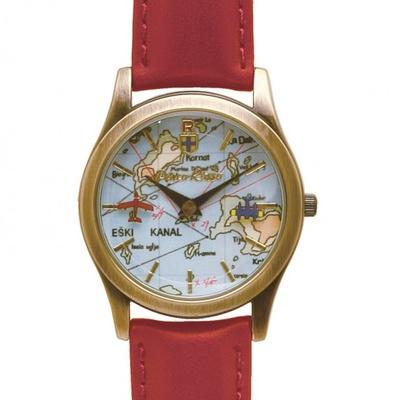 """ポルコの乗る戦闘機""""サボイア""""とカーチスの戦闘機の空中戦が描かれた「紅の豚 回転腕時計 サボイア」。サイズ:約35×H235m"""