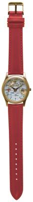 真っ赤なベルトにゴールドの時計ケースが映えるデザイン