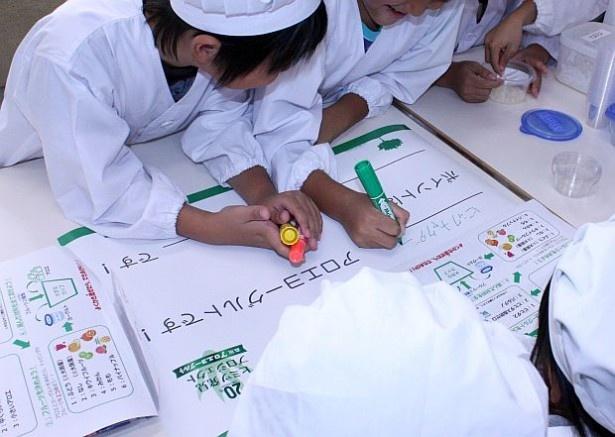 ヨーグルトの名前や工夫した点などをまとめる小学生