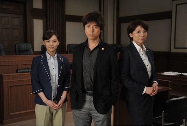 この冬放送のドラマスペシャル「最後の証人」に主演する上川隆也(写真中)。共演は倉科カナ(写真左)、松下由樹(写真右)
