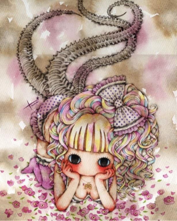 【写真を見る】たま「Poisonas Angel 1」 2012年 水彩、紙 297×236mm