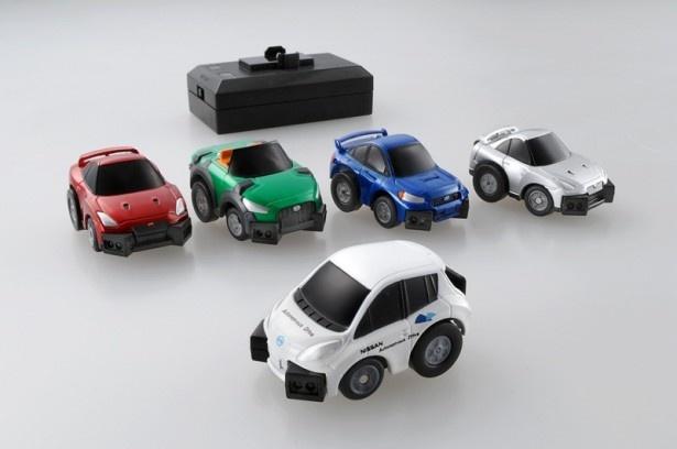 【写真を見る】「Q‐eyes」は全4種類を展開。「NISSAN LEAF 自動運転テストカー」「SUBARU WRX STI」「ダイハツ コペン future included Xmz」「NISSAN GT-R」