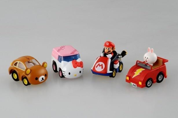 「チョロQ MIX」は、直線&ターン走行が可能。全4種類を展開。左から「リラックマ」「ハローキティ」「マリオカート8(マリオ)」「LINE FRIENDS(コニー)」