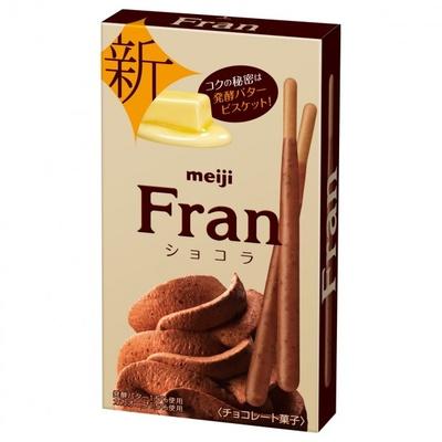 程よい苦味を効かせたコクのある発酵バタービスケットにカカオ香るホイップチョコの「フラン ショコラ」(税別135円)