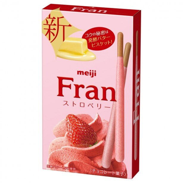 【写真を見る】ビスケットを香り豊かなホイップストロベリーで包み込んだ「フラン ストロベリー」(税別135円)