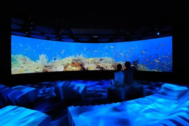 「海中散歩『ブルーレイヤー』」幅12m×高さ2.4 mの大型円形スクリーンで映し出す海の世界