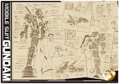 各モビルスーツの設計図が描かれたビジュアルマット
