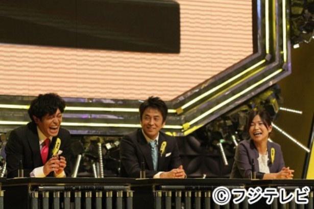 Aブロックは、バカリズム、大久保佳代子(右)、堀内健(中央)、ちゅうえい(左)、小木博明の5人