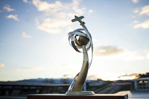 レッドブル・エアレースのトロフィー。2014年のシリーズチャンピオンはイギリスのナイジェル・ラム選手
