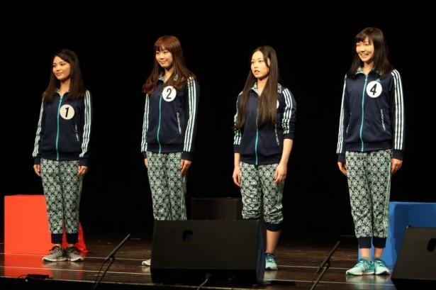 演技審査に臨んだ(左から)大山なるみ、中村瞳子、児玉朱里、清原優希乃
