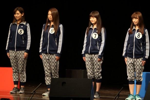 演技審査に臨んだ(左から)松田紋佳、村田摩夕、生田若菜、吉田理紗