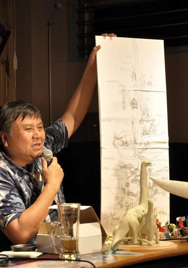 第2部で、1メートルの太陽の塔に入れる生命の樹の構想を語る宮脇社長