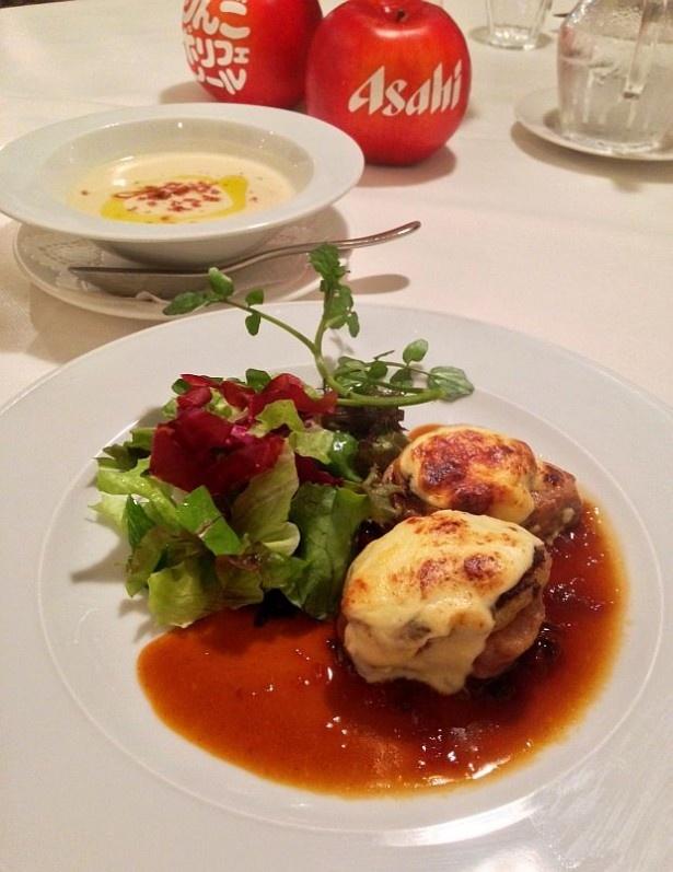 「りんごポリフェノールのカフェ」で食べられる「豚フィレ肉のステーキグラタン りんごのソース」(1500円)