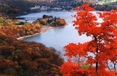 12位の赤城山(群馬県前橋市)。湿原の覚満淵(かくまんぶち)では草原の紅葉も楽しめる