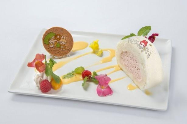 ロールケーキに描かれたマイメロディがキュートな「マイメロディの赤ずきんロールケーキ ストーリー仕立て」(税抜980円)