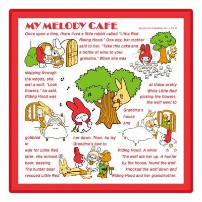 マイメロディのストーリーが描かれた「マイメロディ カフェ クロスハンカチ」(税抜800円)