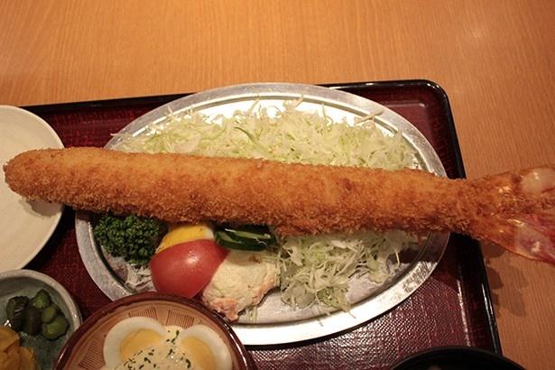 【写真を見る】皿からはみ出すほどの大きさ!35cmの長さを誇る日本一の「特大海老ふりゃ~定食」(2548円)はボリューム満点