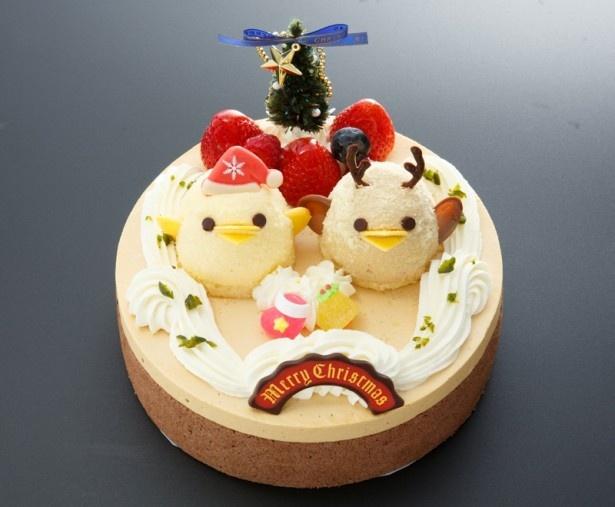 クリスマスケーキ「スペシャルぴよりんデコレーション」(4650円/18cm)にはサンタとトナカイの「ぴよりん」が!