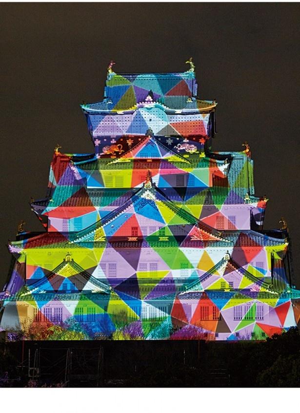 関西ウォーカーの読者アンケートで「ことし見たいイルミ」第一位になった「大阪城3Dマッピング」