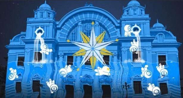 2位は「OSAKA光のルネサンス」の大阪市中央公会堂正面(大阪府大阪市北区)。建物に光と音楽が織り成すアート作品を照射