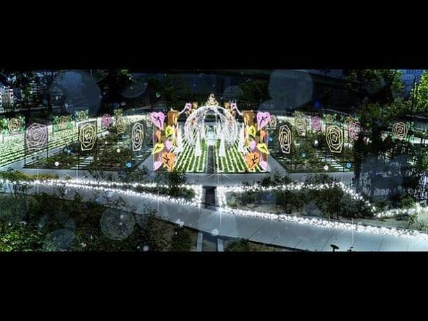 8位は「OSAKA光のルネサンス」の中之島公園 バラ園(大阪府大阪市北区)。公園のバラ園の東西2ヶ所には、妖精をイメージしたイルミネーションが登場する