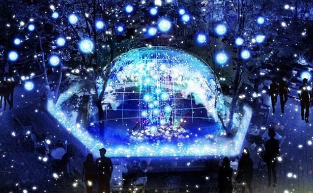 """3位の東急プラザ 表参道原宿(東京都渋谷区)。今年は""""泉が凍りついた瞬間""""を表現した会場中央のオブジェツリーが見どころ"""