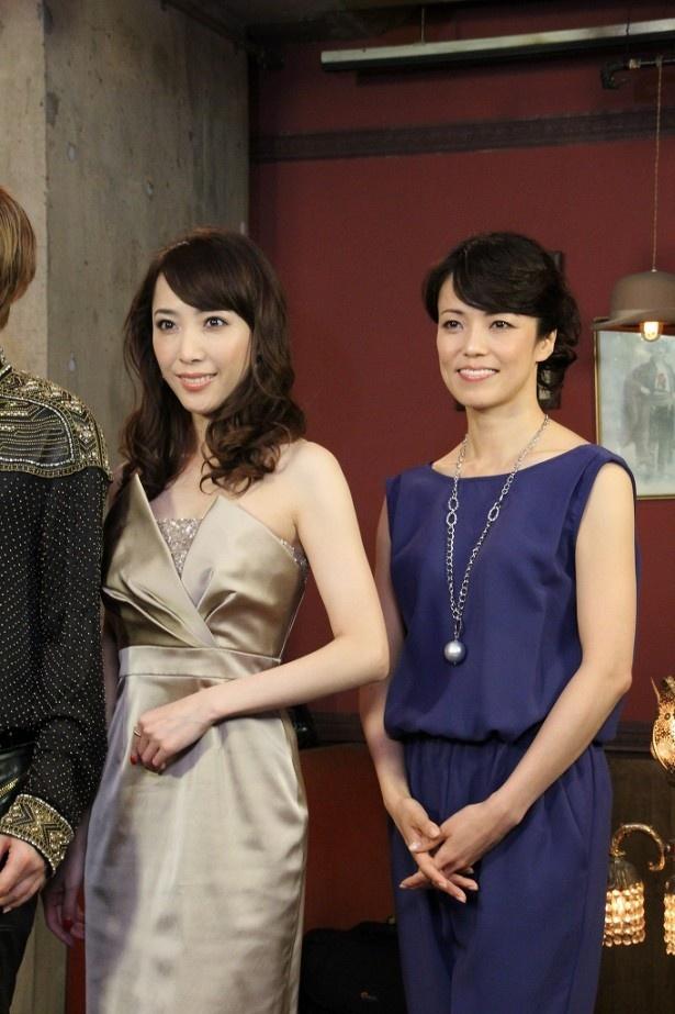 華やかなドレスで番組に登場した貴城、彩吹